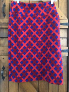 aed99760b22 LulaRoe Cassie SKIRT XL red  amp  blue geometric pattern BRIGHT