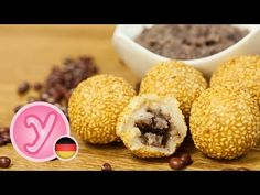knusprig knautschige SESAMBÄLLCHEN (Jin Deui) gefüllt mit süßer roter Bohnenpaste - vegan - YouTube