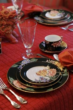 red table setting and foo dog