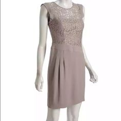 'Aimee' Cocktail Dress Worn once--like new! Color: Brown, • Lightweight polyester woven, • Lace bodice with scoop neck, • Sleeveless with banded armholes, • Pleated left front side of skirt at biased banded waist, • Straight skirt, • Exposed zip closure at v back, • Fully lined from bust BCBGMaxAzria Dresses