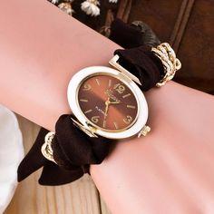 Fashion Clock Women Bracelet Watches Lady Fabric Bowknot Quartz Wrist Watch Woman Top Brand GENEVA Watch Relogio Reloj #N