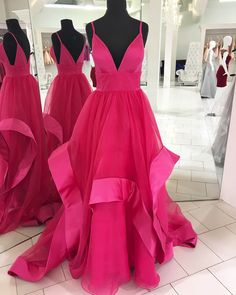 Coral tulle spaghetti straps long V neck ruffles party dress #prom #dress #promdress #promdresses