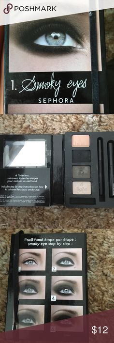 Sephora smokey eyes. Learn how to do smokey eyes or perfect yours with this cute kit! Received as a gift and already have urban decay smokey. Never used! Bundle with my other Kat Von D and Urban Decay makeup and save! Sephora Makeup Eyeshadow