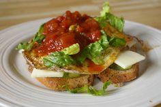 https://flic.kr/p/83n6ve | Breakfast | toast, avocado, cheese, egg, lettuce, salsa.