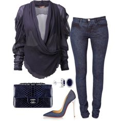 A fashion look from October 2015 featuring Vivienne Westwood blouses, Makers of True Originals jeans and Christian Louboutin pumps. Browse and shop related loo… Casual Chic, Fashion Casual, Fashion Mode, Look Fashion, Autumn Fashion, Fashion Outfits, Womens Fashion, Classy Outfits, Stylish Outfits