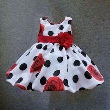 6 M-4 T bebê meninas vestido Preto Red Dot Arco infantil vestido de verão para a festa de aniversário sem mangas princesa vestido floral infantil