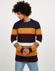 Bershka Japan - Flecked striped jumper