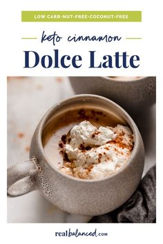 This Starbucks copycat Cinnamon Dolce Latte is keto-friendly, nut-free, and coconut-free. It can be prepared and served in just 10 minutes, has less than 5 grams of net carbs per serving, and is a perfect drink to enjoy during the holiday season. Simply prepare the homemade whipped cream before mixing and heating together the ingredients for the drink, pouring into coffee mugs, adding a dollop of whipped cream, and enjoying! #realbalancedblog #ketodrink #ketostarbucks #lowcarblatte Keto Coffee Creamer, Coffee Mugs, Low Carb Keto, Low Carb Recipes, Keto Diet Alcohol, Keto Drink, Diet Drinks, Cinnamon Dolce Latte, Coffee Recipes
