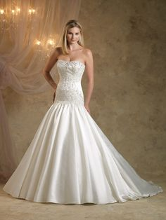 Trumpet/Mermaid Sweetheart Satin Sweep Train White Beading Wedding Dresses at Msdressy