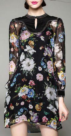 Beaded Silk Floral Print Dress