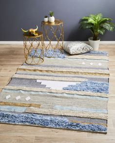 Hand made, Wool and Cotton rug
