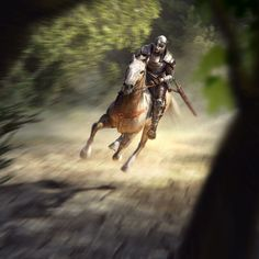 m Fighter Plate Armor Helm Sword Horseback galloping Farmland Deciduous forest Road story Patrol med Elder Scrolls Races, Elder Scrolls Online, Imperial Legion, Forest Road, Image Painting, Wow Art, Skyrim, Dungeons And Dragons, Art Pictures