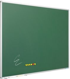 Chalk board green enamelled steel with Softline profile Chalkboard made of green enamelled steel. Magnetic and erasable. Anodised aluminium Softline profile with grey synthetic corners. Including 30 cm pen tray.