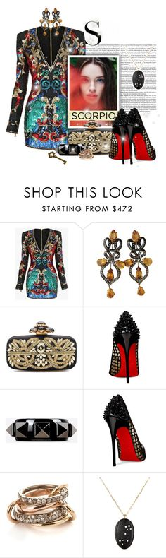 """#157. [the scorpion]"" by yuuurei ❤ liked on Polyvore featuring Balmain, Oscar de la Renta, Christian Louboutin, Valentino, SPINELLI KILCOLLIN, Venyx, scorpio, fashionhoroscope and stylehoroscope"
