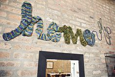 Okay, I'm EXTRA loving this crochet home sign. Want to crochet one for my craft room later :) Knitting Room, Pad Design, Linens And More, Loft, Soft Sculpture, Home Signs, Living Room Inspiration, My Living Room, Colour Schemes