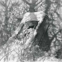 Художник Чернов Денис. Окно возле стены. 47х47 бумага карандаш