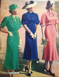 "Simple 1937 Afternoon Dresses in solid colors.   Often referred to as ""city,"""" metropolitan,"" or ""town tailored"" these dresses were usually silk or rayon crepe, not cotton. They stuck with the standard silhouette and classic thirties features: puff sleeves, belted waits and large yokes and collars. #1930sfashion #vintage"