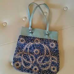 Vintage! 1960s hand bag/ purse. Gorgeous vintage purse! Great Condition! Perfect for casual or for an evening out. Beautiful blues and cream. Leather inside with two small pockets. Was my mother's and is very gently used. Classic vintage! Bags
