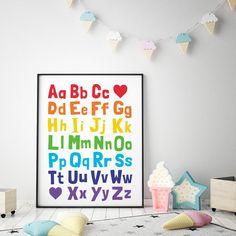 Alphabet Printable Art, Kids Educational Print, ABC Printable, Nursery Decor, Playroom Wall Art, Alphabet Chart Poster *Instant Download* Kid Bathroom Decor, Playroom Decor, Nursery Wall Decor, Kids Room Art, Art Kids, Art Wall Kids, Alphabet Wall Art, Alphabet Charts, Abc Printable