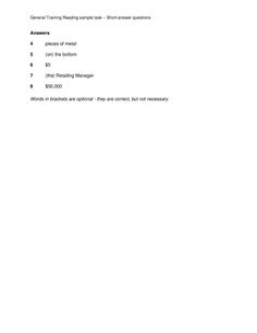 General Training Reading sample task – Short-answer questions ANSWERS Ielts Reading, Reading Practice, Different Exercises, Question And Answer, Management, Cards Against Humanity, Training, Words, Work Outs