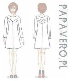 simple dress with v seams yoke, free papavero pattern