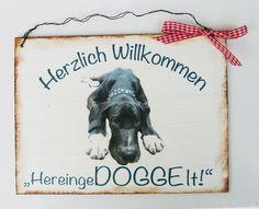 Türschild Hund Dogge von Un-Art-Tick via dawanda.com
