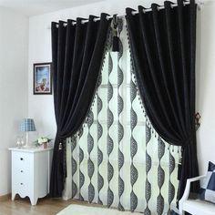 黒美容カスタマイズブラックアウトカーテン用リビングルーム高品質生地現代のカーテン寝室用