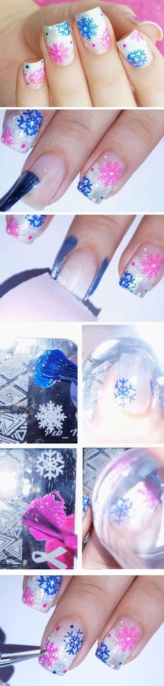 Pink + Blue Snowflakes | Easy Christmas Nail Designs for Short Nails