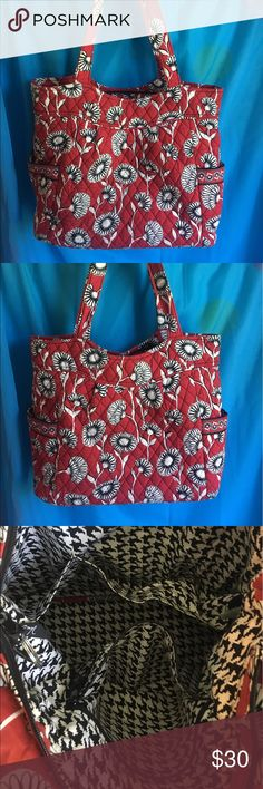 Vera Bradley shoulder bag Vera Bradley shoulder bag/tote! Red/black/white flower print with black and white inside. Two pockets on either side. Three small pockets on the inside and a zipper pocket. The stitching is coming out between two of the pockets a little, but could easily be fixed. In good condition other than that! Vera Bradley Bags Shoulder Bags