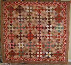 PRE-CIVIL-WAR-Vintage-9-Patch-on-Point-Antique-Quilt-SAWTOOTH-ZIGZAG-BORDERS