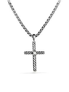 David Yurman Cable Classics Cross with Diamond on Chain
