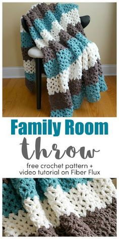 Family room throw, free crochet pattern + full video tutorial on fiber . - Family Room Throw, free crochet pattern + complete video tutorial on Fiber Flux – Family Room Thr - Crochet Afghans, Crochet Throw Pattern, Easy Crochet Blanket, Crochet For Beginners Blanket, Afghan Crochet Patterns, Blanket Yarn, Free Crochet Patterns For Beginners, Beginner Crochet Projects, Crochet Ideas