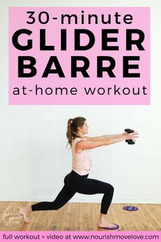 Set your core on fire with this 30 minute BARRE WORKOUT! This at home workout adds gliding discs to increase core engagement, but you can always sub paper plates or a dish towel if you're working out at home! Grab this free barre workout today! Pilates Workout Routine, Yoga Routine, Workout Hiit, Barre Exercises At Home, Cardio Barre, Workout Videos, At Home Workouts, Barre Core, Training Workouts