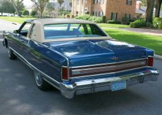1976 Lincoln Town Coupe in Blue Starfire with White top and 46,000 original miles.