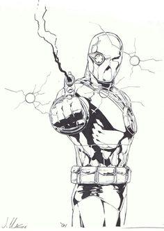 Deadshot, in Garrett Gray's Comic Art Comic Art Gallery Room Dc Comics Characters, Dc Comics Art, Marvel Comics, Deadshot Comics, Superhero Sketches, Comic Art, Comic Books, Dark Art Tattoo, Black White Art