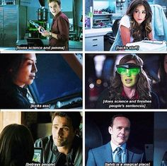 Marvel's Agents of S.H.I.E.L.D Main Characters: Leo Fitz, Jemma Simmons, Skye, Phil Coulson, Grant Ward, and Melinda May.
