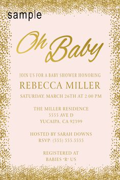 Glitter Gold Oh Baby, Baby Shower invitation- To Place orders and follow me on FB please click on image twice. or send me a message address in bio