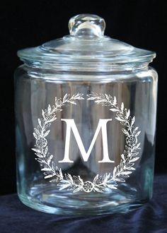 Laurel Monogram 1 Gallon Glass Jar Great Gift for by JoyousDays
