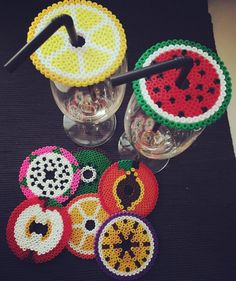 Fruit glass covers Hama pearls from madebydaljemar - Crafts Bead Crafts, Diy And Crafts, Pixel Art, Cottage Crafts, Hama Beads Design, Fusion Beads, Iron Beads, Melting Beads, Beaded Cross Stitch