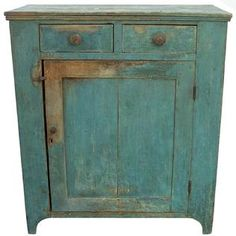 Early 19th century Cupboard with original dry robin egg blue paint