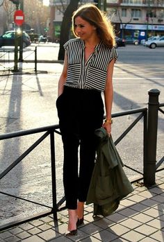 striped top and black pants {like this for work. Would like some nice pants like these to wear to work}