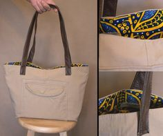 Tote bag Recycled material tote bag Khaki tote by HandMadejesty