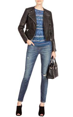 Jackets   BLACK LEATHER BIKER JACKET   Karen Millen