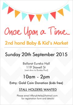 Stall holders selling all things 2nd hand baby, toddler and kids. Gold coin entry will be donated to Eureka Mums