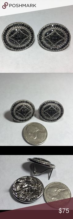 Sterling Silver Black Diamond Pierced Earrings Bold yet beautiful. Great for work or out on the town. These earrings have a textured mil-grain finished encrusted with over 2 carats of black diamonds. These are just shy of one inch long. Diamonds are irradiated and are I3 quality with some imperfections not uncommon for black diamonds. Look big but are light weight with a rhodium finish. Sold through Kohls. Never worn. Jewelry Earrings