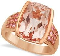#Jewelry #Rings Pink Tourmaline and Cushion Morganite Jewelry Cocktail Ring For Women in 14k Rose Gold