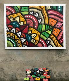 "This guys is phenomenal- Danilo Roots (@danroots) on Instagram: ""Canvas 1x1,40m (spray+posca)"" Mandala Painting, Dot Painting, Posca Art, Doodle Art, Art Lessons, Watercolor Art, Graffiti, Canvas Art, Creations"