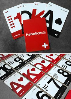 Helveticards is a modern, minimalist alternative to the traditional deck of playing cards. A great gift for the graphic designer and poker player alike. Playing Cards Art, Playing Card Design, Game Card Design, Branding, Deck Of Cards, Graphic Design Inspiration, Typography Design, Card Games, Packaging Design