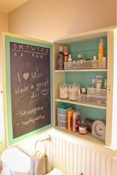 Chalkboard Medicine Cabinet DIY: for reminders to take medicine and supply lists!