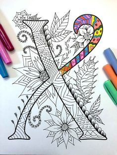 Letter X Zentangle Inspired by the font Harrington von DJPenscript